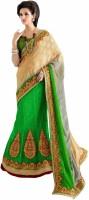 Aasvaa Self Design Lehenga Saree Jacquard Saree(Green)