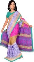 Khoobee Printed Fashion Chiffon Saree(Multicolor, Blue)