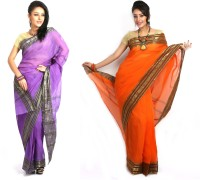 Purabi Woven Tant Handloom Cotton Saree(Pack of 2, Purple, Orange)