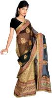 Jagadamba Solid Banarasi Brocade Saree(Multicolor)