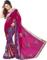 Sonal Trendz Embroidered Fashion Synthetic Georgette Saree(Pink)