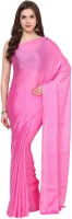 Aksara Self Design Daily Wear Crepe Saree(Pink)