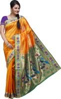 Ishin Printed Fashion Poly Silk Saree(Yellow)