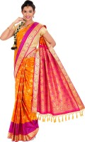 Thara Sarees Self Design Kanjivaram Art Silk Saree(Orange, Pink)