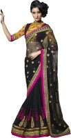 Saara Self Design Fashion Net Saree(Black)