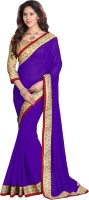 Sourbh Sarees Embellished Fashion Georgette Saree(Purple)