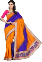 Saree Swarg Solid Bollywood Tussar Silk Saree(Yellow, Blue)