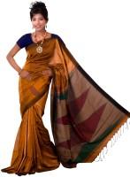 Hawai Striped Tant Silk Saree(Brown)