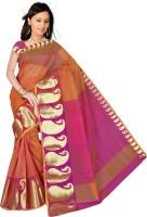 Pavechas Paisley Maheshwari Cotton, Polycotton Saree(Orange, Purple)