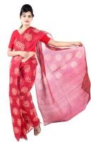 Fab Rajasthan Floral Print Kota Doria Handloom Kota Cotton Saree(Maroon)
