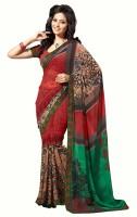 Khushali Self Design, Printed Fashion Georgette Saree(Red, Green, Multicolor)