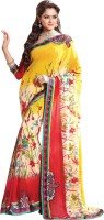 Jiya Self Design, Embroidered, Embellished Fashion Chiffon Saree(Red, White, Yellow)