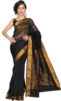 Vastrakala Solid, Striped Fashion Cotton, Silk Saree(Black)