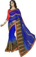 Khoobee Self Design, Embroidered, Embellished Fashion Poly Georgette Saree(Brown, Blue)