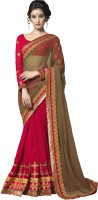 Saara Self Design Fashion Net Saree(Brown, Red)