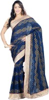 Ishin Printed Fashion Viscose Saree(Blue)