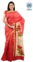 Tantuja Self Design Murshidabad Handloom Silk Saree(Red)