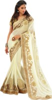 Vishal Solid Fashion Chiffon Saree(White)