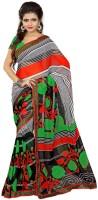 Patankar Fab Printed Bollywood Synthetic Chiffon Saree(Black, Grey)