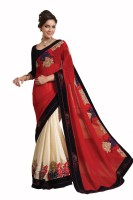 Chirag Sarees Self Design, Solid Fashion Georgette Saree(Red)