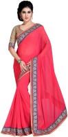 Jiya Self Design, Embroidered Fashion Poly Georgette Saree(Pink)