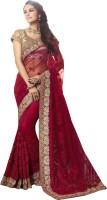 Ishin Embroidered Fashion Net Saree(Maroon)
