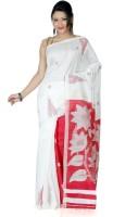 B3Fashion Woven Kosa Handloom Silk Saree(White, Red)