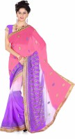 Khoobee Embroidered Fashion Poly Georgette Saree(Purple, Pink)