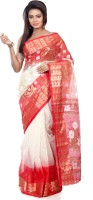 B3Fashion Self Design Kosa Handloom Tussar Silk Saree(Red, White)