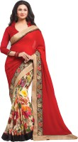 Indianbeauty Self Design, Embroidered Bollywood Georgette Saree(Red, White)