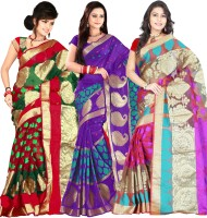 Its Banii Woven Banarasi Handloom Banarasi Silk Saree(Pack of 3, Green, Purple, Pink)
