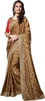 Khoobee Self Design Fashion Jacquard Saree(Brown)