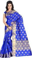 Roopkala Silks Woven Fashion Tussar Silk Saree(Blue)