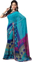 Khoobee Printed Fashion Poly Georgette Saree(Multicolor, Light Blue)