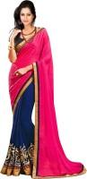 Florence Embroidered Fashion Chiffon Saree(Pink, Blue)