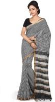 Devi Handlooms Checkered Mangalagiri Handloom Cotton Blend Saree(Black)