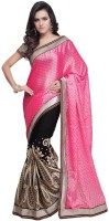 JTInternational Self Design Bollywood Brasso Saree(Black, Pink)