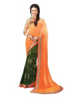 Indianbeauty Printed, Solid Bollywood Pure Chiffon, Pure Georgette Saree(Orange, Green)