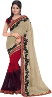 Florence Embroidered Bollywood Synthetic Chiffon Saree(Beige, Red)