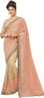Saara Embroidered Fashion Lycra Saree(Pink, Beige)