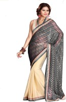 Sourbh Sarees Self Design Fashion Jacquard, Crepe Saree(Grey, Beige)