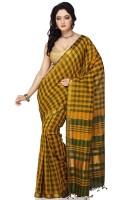 Devi Handlooms Woven Mangalagiri Handloom Cotton Blend Saree(Gold)