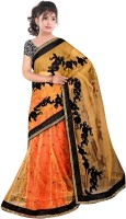 Dancing Girl Embroidered Bollywood Net Saree(Brown)