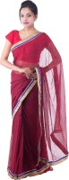 Fab Rajasthan Embellished Fashion Handloom Pure Chiffon Saree(Red)