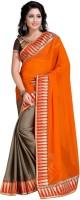 Khoobee Self Design, Embroidered Fashion Satin Blend, Poly Georgette Saree(Orange, Grey)