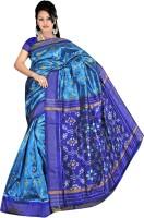 Roopkala Silks Woven Pochampally Handloom Pure Silk Saree(Blue)