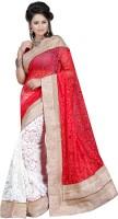 Ansu Fashion Floral Print Fashion Brasso Saree(Red)
