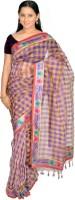 Jagadamba Checkered Fashion Silk Saree(Purple, Yellow)