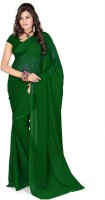 KJS Solid Bollywood Poly Georgette Saree(Dark Green)