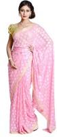 Ethnic Bliss Lifestyles Self Design Phulkari Chiffon Saree(Pink)